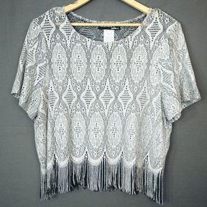 Vintage Plus Size Fringe Short Sleeve Crop Top